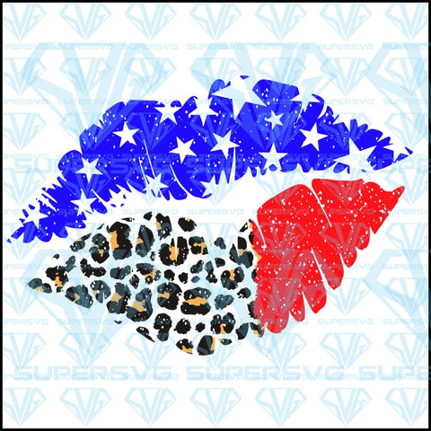 American Flag Lips SVG Files For Silhouette, Files For Cricut, SVG, DXF, EPS, PNG Instant Download