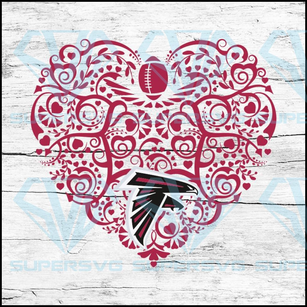 Atlanta Falcons, Heart SVG, NFL Svg, Football Svg, Cricut File, Svg