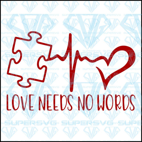 Autism Awareness, Love Needs No Words, svg, png, dxf, eps file