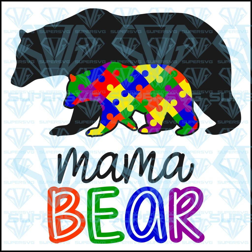Autism Mama Bear, svg, png, dxf, eps file