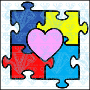 Autism Puzzle Heart, svg, png, dxf, eps file