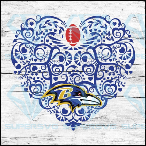 Baltimore Ravens, Heart SVG, NFL Svg, Football Svg, Cricut File, Svg