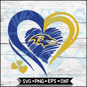 Baltimore Ravens Love Svg, Heart Baltimore Ravens Svg, NFL Svg, Football Svg, Cricut File, Svg