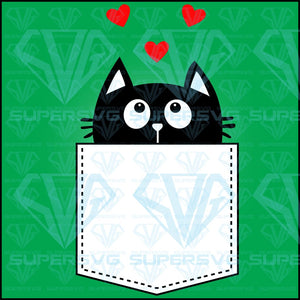 Black Cat Pocket Looking Three Red, svg, png, dxf, eps file