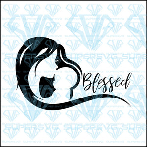 Blessed, mom and son silhouette, svg, png, dxf, eps file