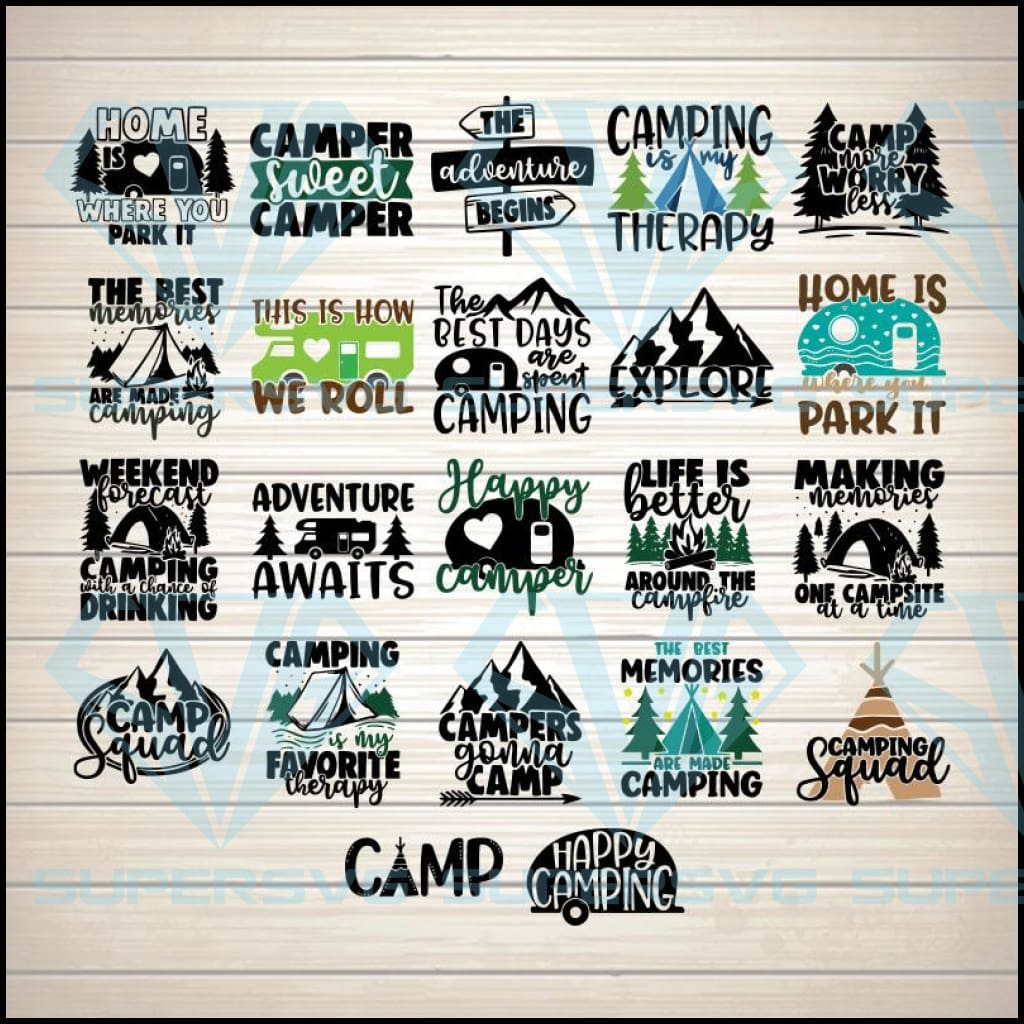 Camping Bundle 22 SVG PNG DXF EPS Download Files