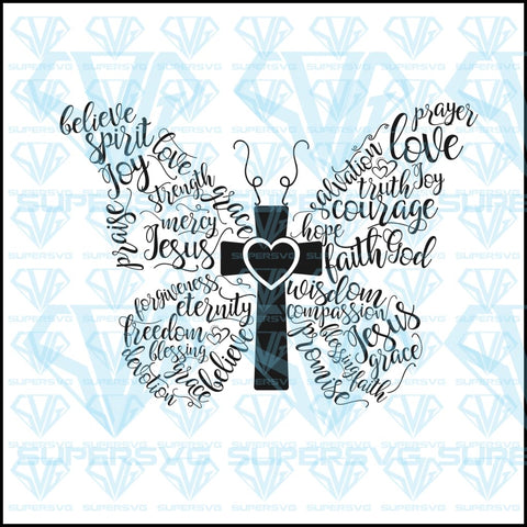 Christian Butterfly Svg Files For Silhouette Cricut Dxf Eps Png Instant Download