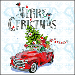 Christmas Card Red Retro Truck Fir, svg, png, dxf, eps file