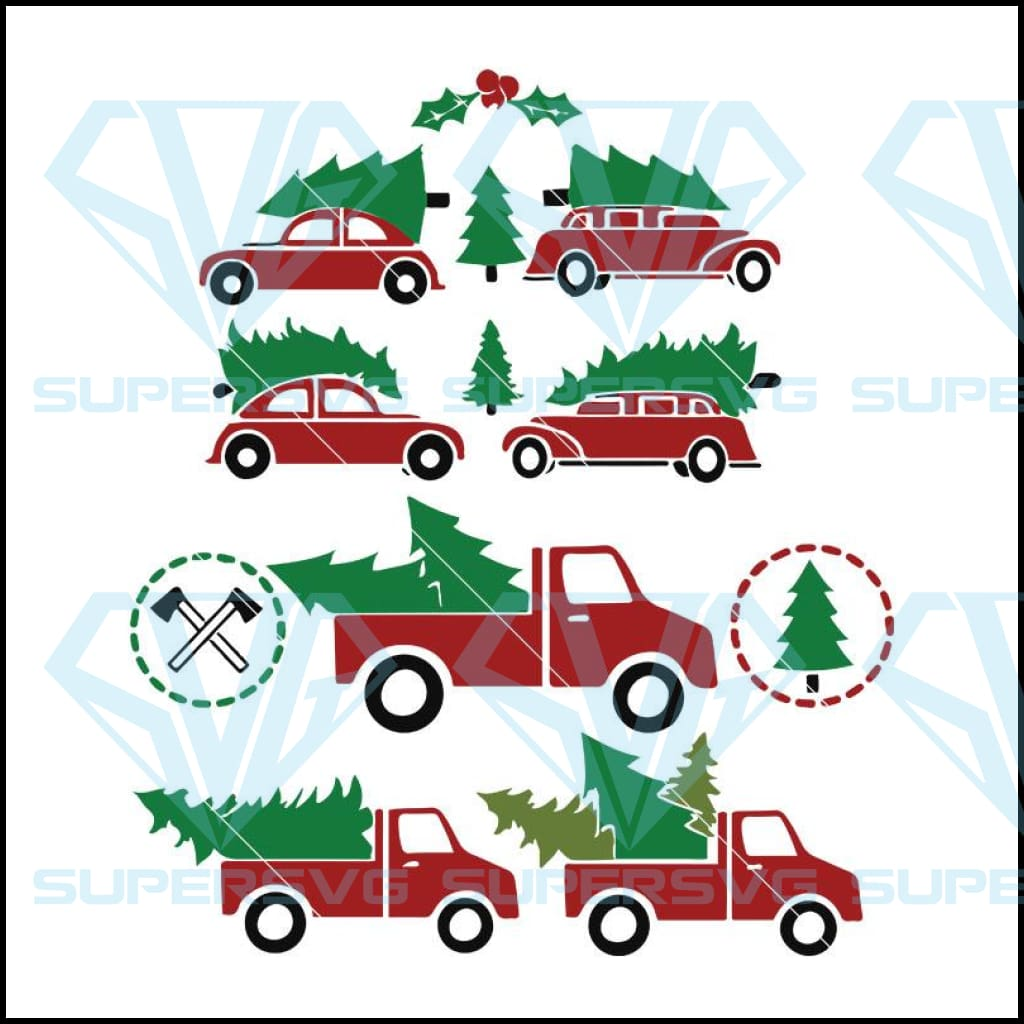 Christmas Truck svg, Christmas Trees with Car and Truck Cut File in SVG, DXF, PNG, Christmas Car