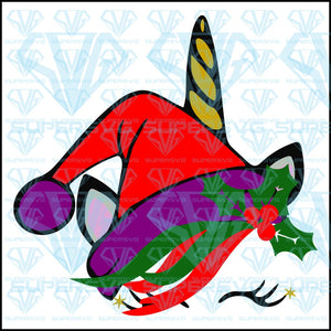 Christmas Unicorn, unicorn head, svg, png, dxf, eps file