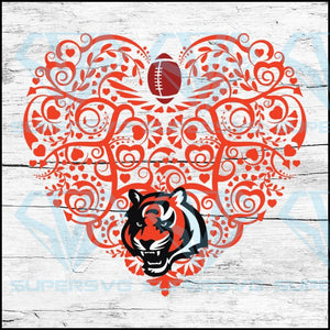 Cincinnati Bengals, Heart SVG, NFL Svg, Football Svg, Cricut File, Svg