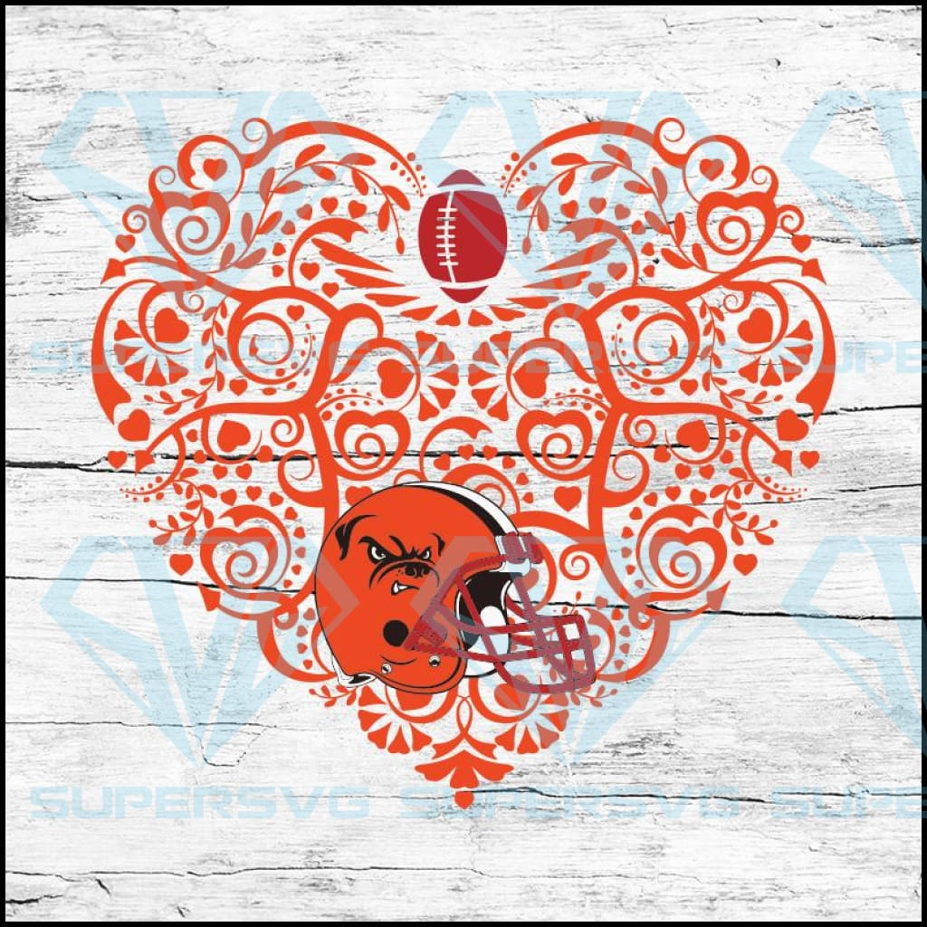 Cleveland Browns, Heart SVG, NFL Svg, Football Svg, Cricut File, Svg