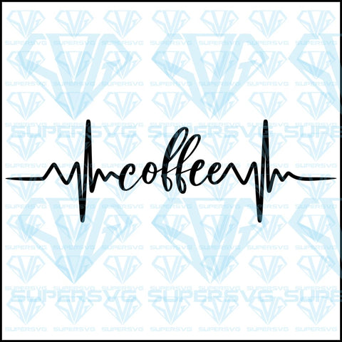 Coffee Heartbeat, svg, png, dxf, eps file