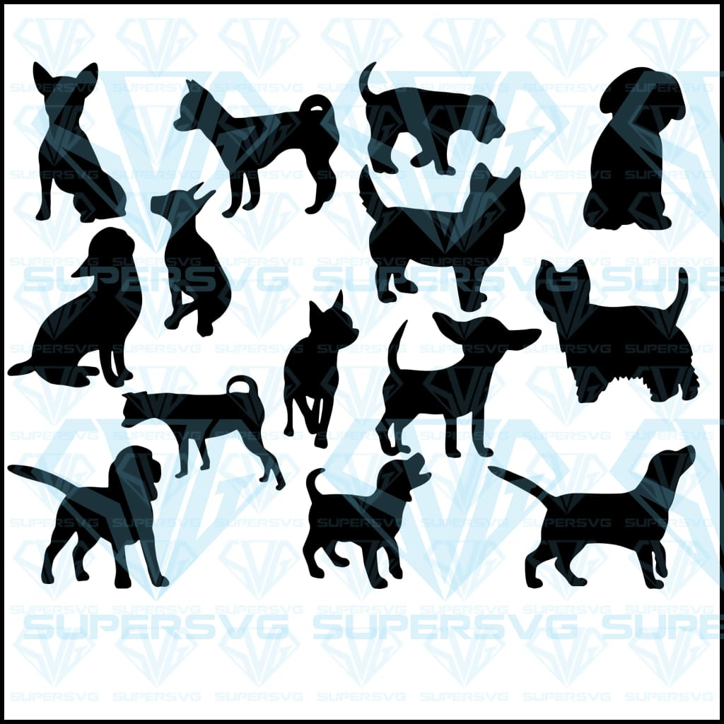 Collection Silhouettes Dogs Bundle, svg, png, dxf, eps file
