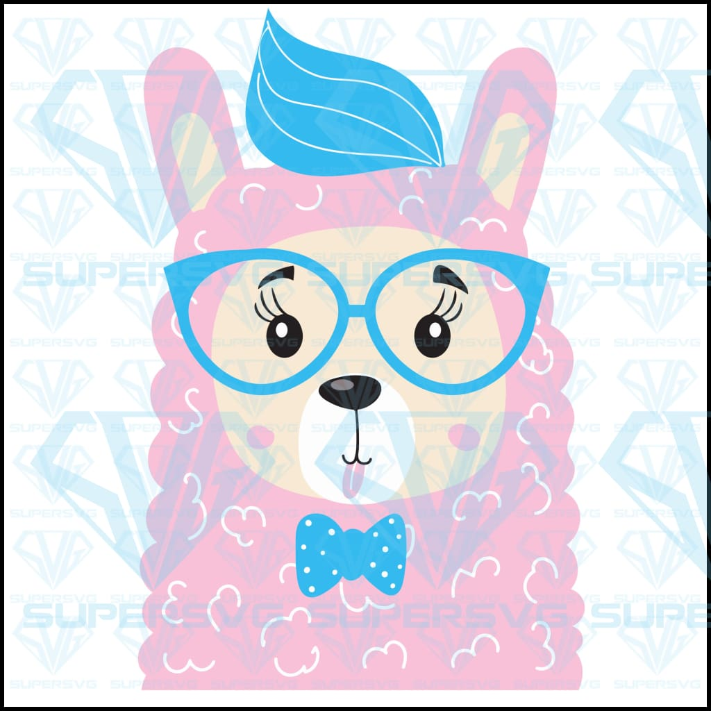 Cute Funny Llama Glasses Shows Language, svg, png, dxf, eps file