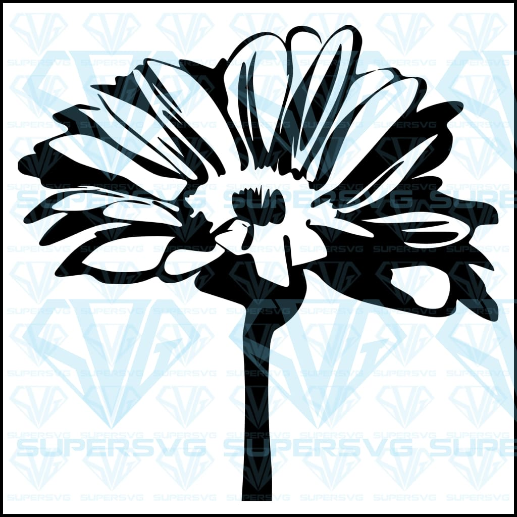 Daisy Flower On Stalk, svg, png, dxf, eps file