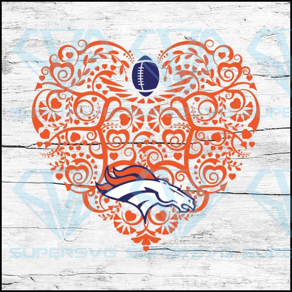 Denver Broncos, Heart SVG, NFL Svg, Football Svg, Cricut File, Svg