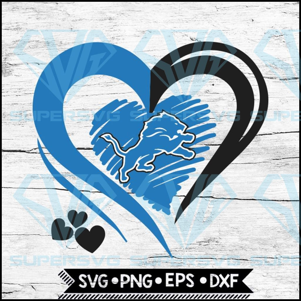 Detroit Lions Love Svg, Heart Detroit Lions Svg, NFL Svg, Football Svg, Cricut File, Svg
