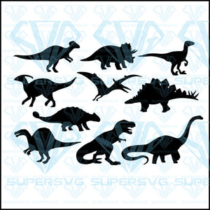 Dinosaurs Jurassic Dino Monsters Icons Bundle, svg, png, dxf, eps file