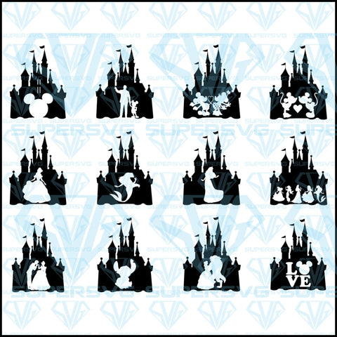 Disney Castle Bundle, svg, png, dxf, eps file