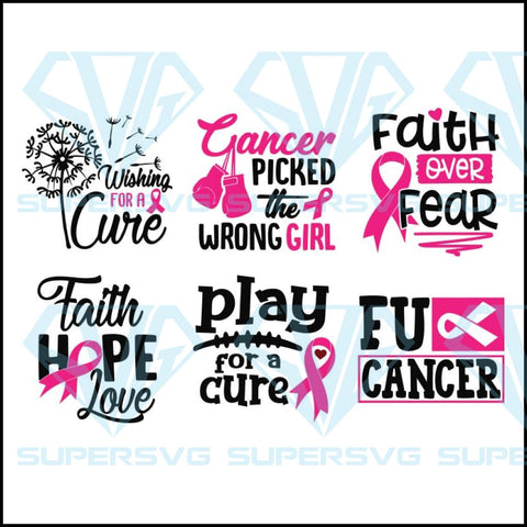 Faith Hope Love Breast Cancer Awareness Quotes Bundle