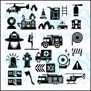 Firefighter Icons Mono Vector Symbols Bundle, svg, png, dxf, eps file