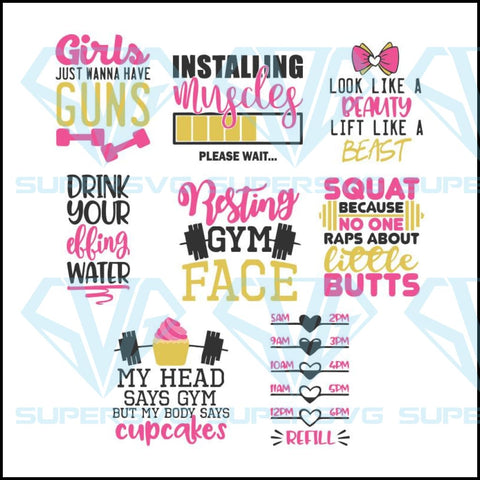 Fitness Fun Bundle SVG DXF PNG EPS Cutting File
