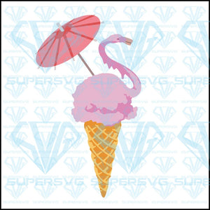 Flamingo, ice cream,umbrella on the ice cream, svg, png, dxf, eps file