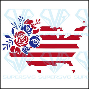 Floral American Flag,4th of july svg,independence day,american flag,USA patriotism, happy 4th of july svg,independence day svg,patriotic svg,