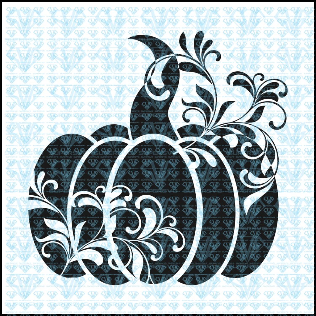 Floral Pumpkin Silhouette Svg Files For Cricut Dxf Eps Png Instant Download