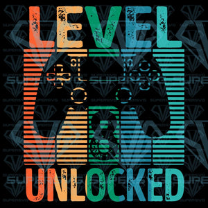 Gamer Level 8 Unlocked 8th Birthday Video Game, SVG, Eps, Dxf, Png file