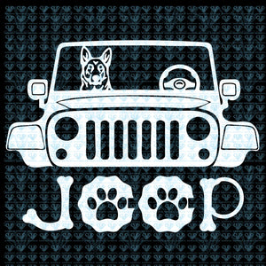German Shepherd Dog Riding On Jeep Svg Files For Silhouette Cricut Dxf Eps Png Instant Download