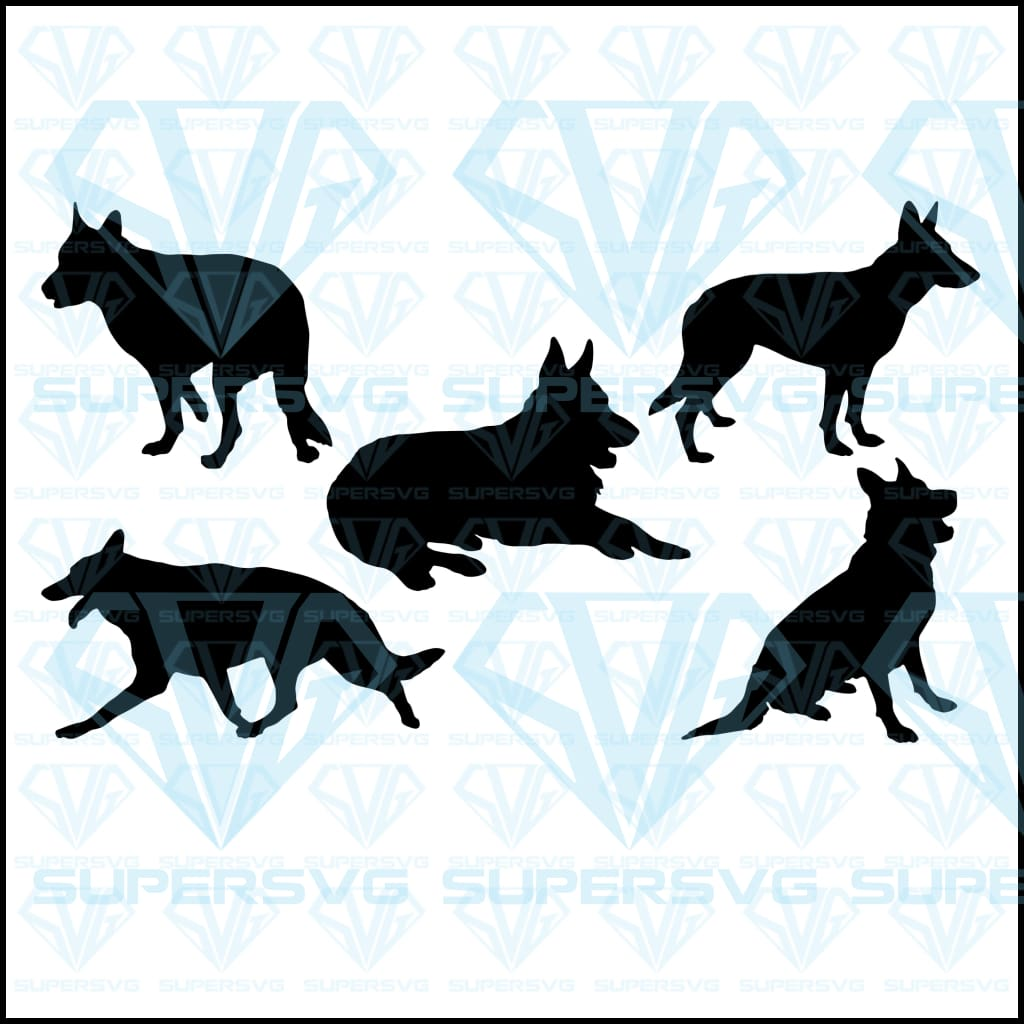 German Shepherd Silhouette Collection Bundle, svg, png, dxf, eps file