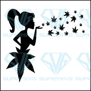 Girl Blowing Cannabis Leaves svg ,Cannabis svg File, Weed png,Marijuana png,Tumbler png ,Designs for Tumblers,Sublimation Design
