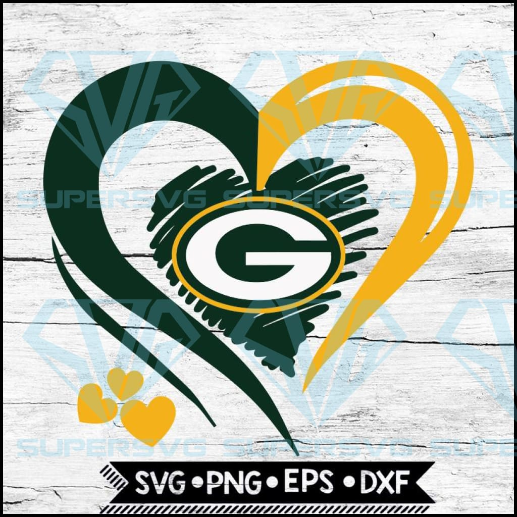 Green Bay Packers Love Svg, Heart Green Bay Packers Svg, NFL Svg, Football Svg, Cricut File, Svg