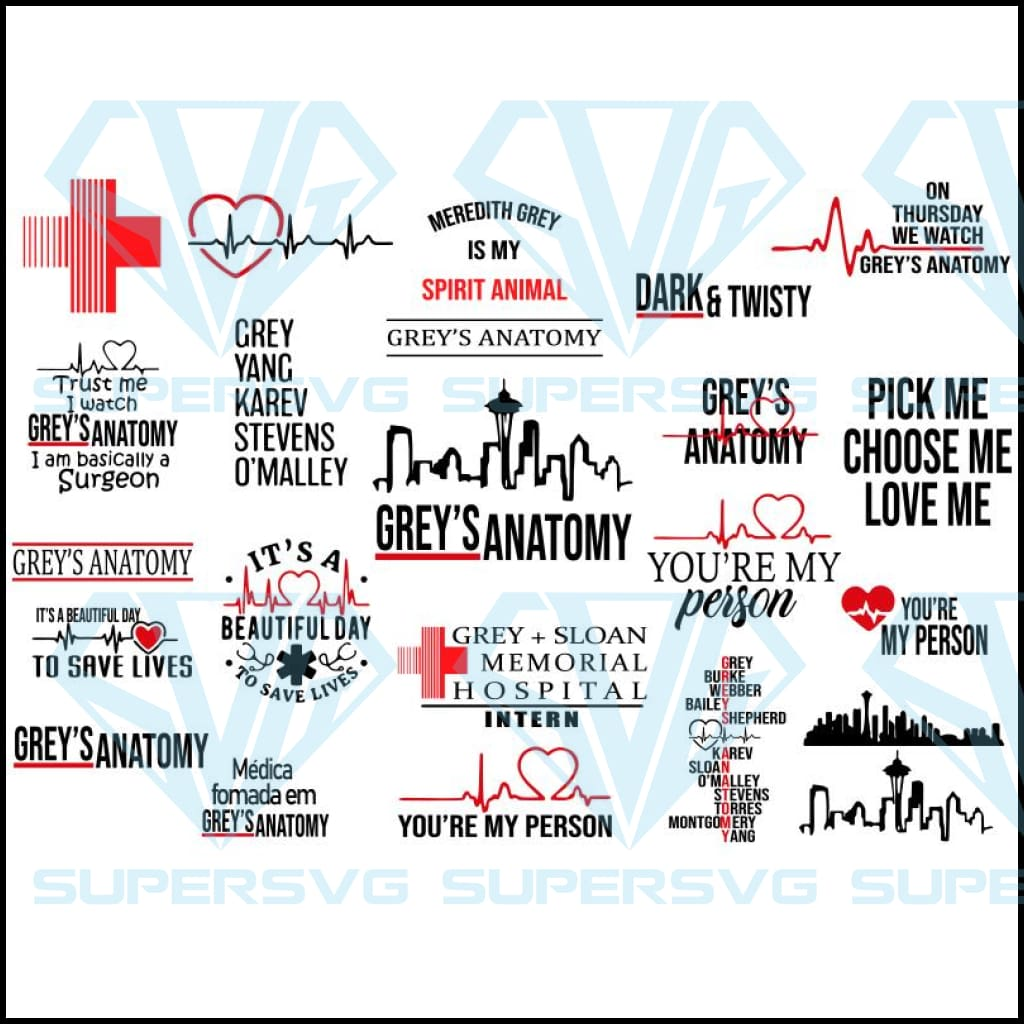 Greys Anatomy Bundle SVG,Greys Anatomy SVG ,Greys Anatomy, You are my person svg ,tv show svg, grey tv hospital svg, save lives svg, Anatomy cutting files ,Files For Silhouette, Files For Cricut, SVG, DXF, EPS, PNG Instant Download