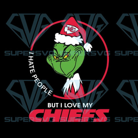 Grinch Santa Christmas Svg, I hate people Svg, I Love Kansas City Chiefs Svg, Cricut File, Football Svg, NFL Svg