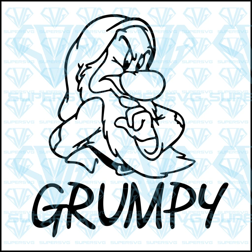 Grumpy Dwarfs, Snow White, svg, png, dxf, eps file