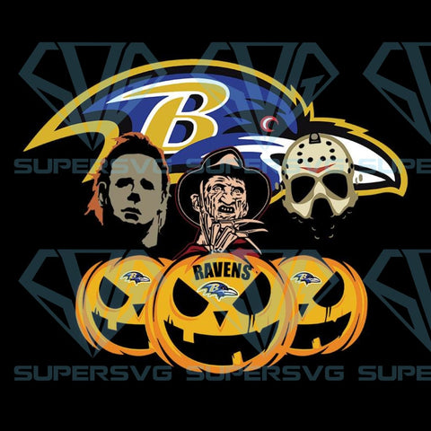 Halloween Horror Movie Pumpkin Svg, Jason Voorhees And Freddy Krueger Svg,Baltimore Ravens