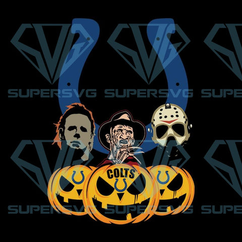 Halloween Horror Movie Pumpkin Svg, Jason Voorhees And Freddy Krueger Svg, Indianapolis Colts