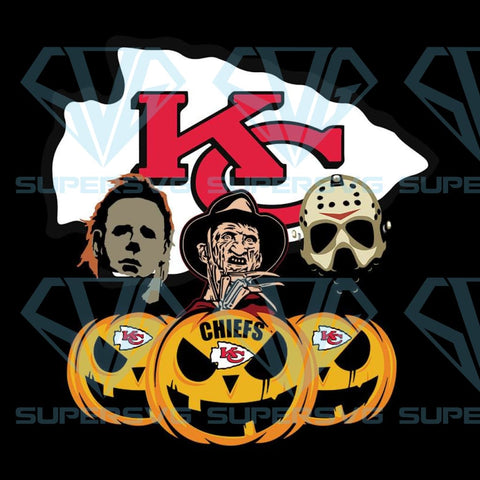 Halloween Horror Movie Pumpkin Svg, Jason Voorhees And Freddy Krueger Svg, Kansas City Chiefs