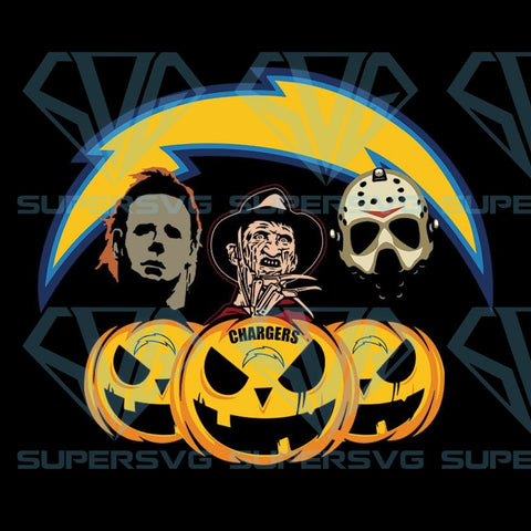 Halloween Horror Movie Pumpkin Svg, Jason Voorhees And Freddy Krueger Svg, Los Angeles Chargers
