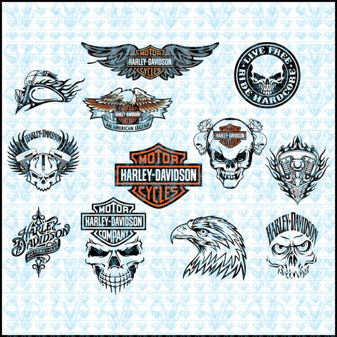 Harley Davidson Logos Bundle Svg Files For Silhouette Cricut Dxf Eps Png Instant Download