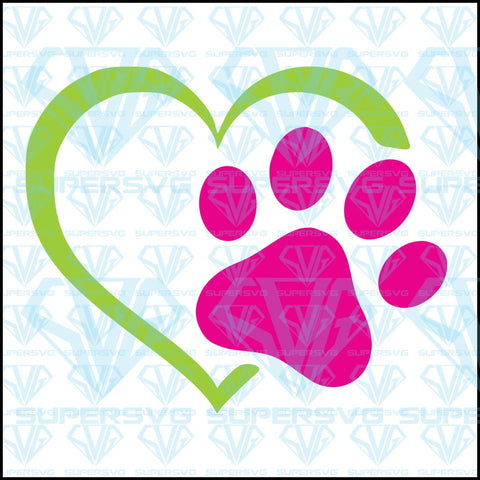 Heart and Paw Prints, svg, png, dxf, eps file