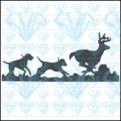 Hound Dogs Chasing Deer, svg, png, dxf, eps file