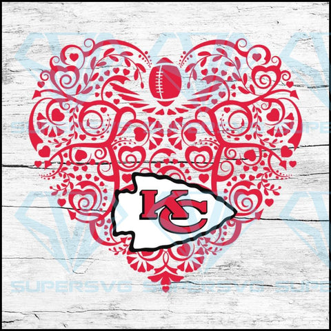 Kansas City Chiefs, Heart SVG, NFL Svg, Football Svg, Cricut File, Svg