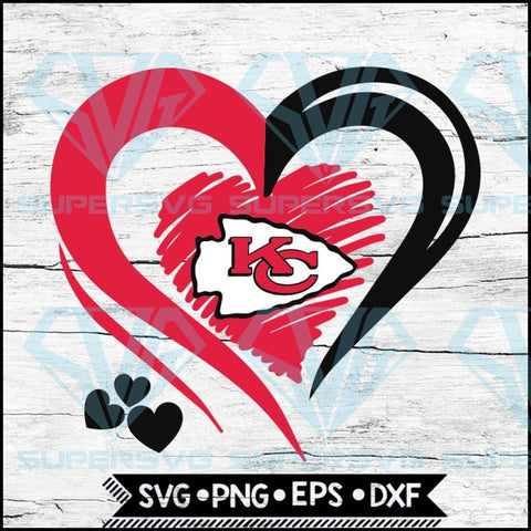 Kansas City Chiefs Love Svg, Heart Kansas City Chiefs Svg, NFL Svg, Football Svg, Cricut File, Svg