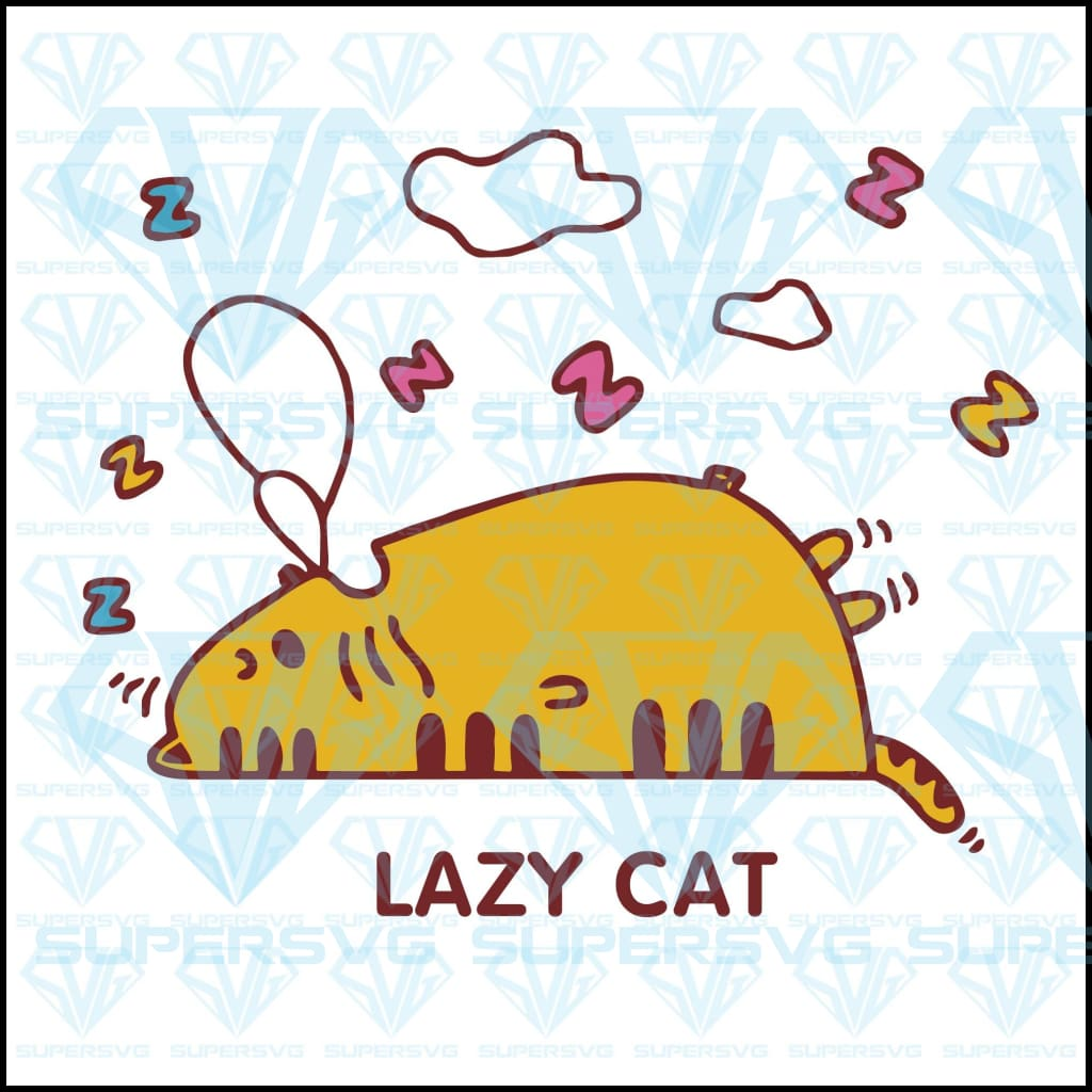 Lazy Cat, svg, png, dxf, eps file