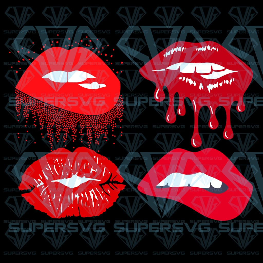 Lips silhouette bundle, svg, png, dxf, eps file