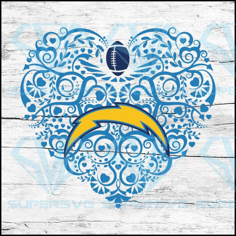 Los Angeles Chargers, Heart SVG, NFL Svg, Football Svg, Cricut File, Svg